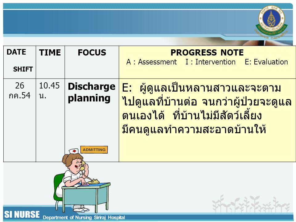 DATE SHIFT TIMEFOCUSPROGRESS NOTE A : Assessment I : Intervention E: Evaluation 26 กค.54 10.45 น.