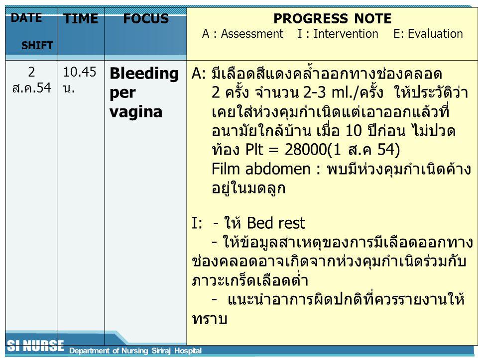 DATE SHIFT TIMEFOCUSPROGRESS NOTE A : Assessment I : Intervention E: Evaluation 2 ส.ค.54 10.45 น.