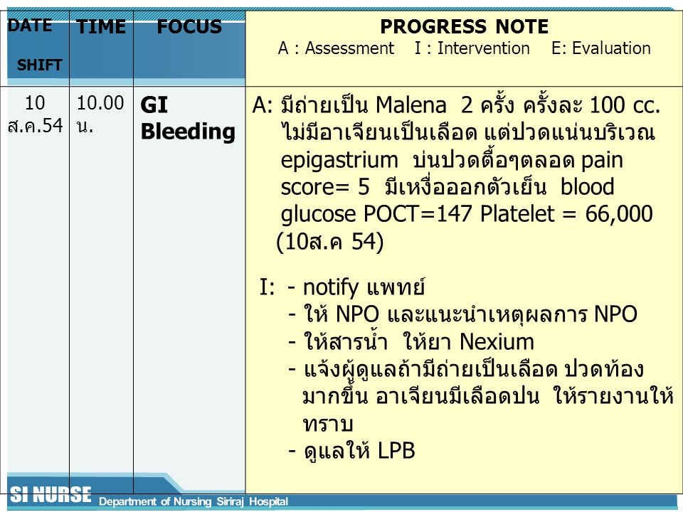 DATE SHIFT TIMEFOCUSPROGRESS NOTE A : Assessment I : Intervention E: Evaluation 10 ส.ค.54 10.00 น. GI Bleeding A: มีถ่ายเป็น Malena 2 ครั้ง ครั้งละ 10