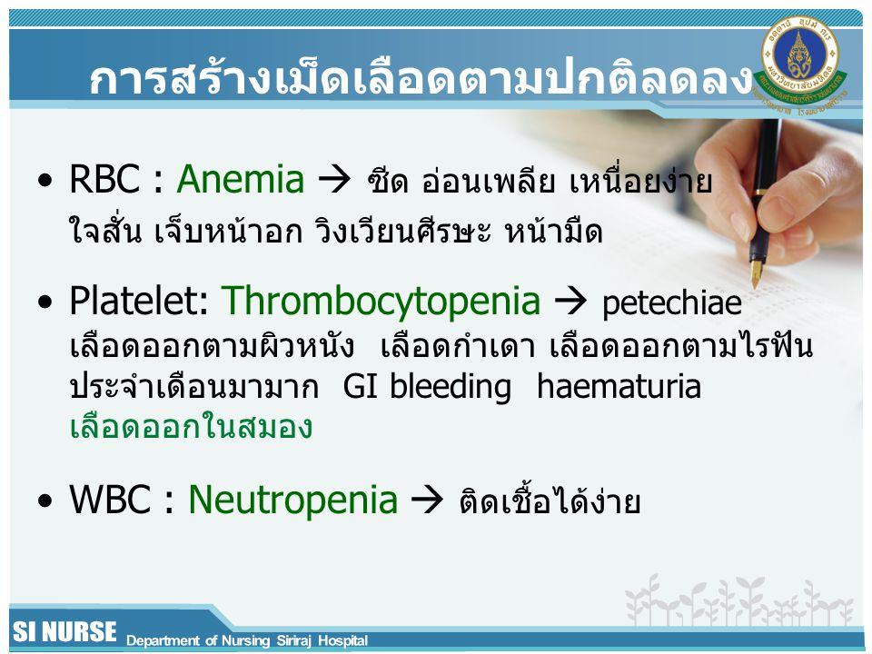 การสร้างเม็ดเลือดตามปกติลดลง RBC : Anemia  ซีด อ่อนเพลีย เหนื่อยง่าย ใจสั่น เจ็บหน้าอก วิงเวียนศีรษะ หน้ามืด Platelet: Thrombocytopenia  petechiae เลือดออกตามผิวหนัง เลือดกำเดา เลือดออกตามไรฟัน ประจำเดือนมามาก GI bleeding haematuria เลือดออกในสมอง WBC : Neutropenia  ติดเชื้อได้ง่าย