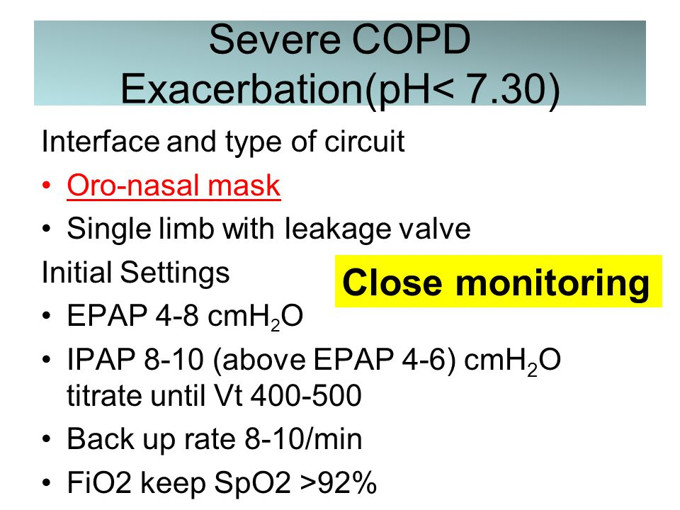 COPD Exacerbation (7.30≤pH<7.35) Interface and type of circuit nasal mask Single limb with leakage valve Initial Settings EPAP 4-8 cmH 2 O IPAP 8-10 (above EPAP 4-6) cmH 2 O titrate until Vt 400-500 Back up rate 8-10/min FiO2 keep SpO2 >92%