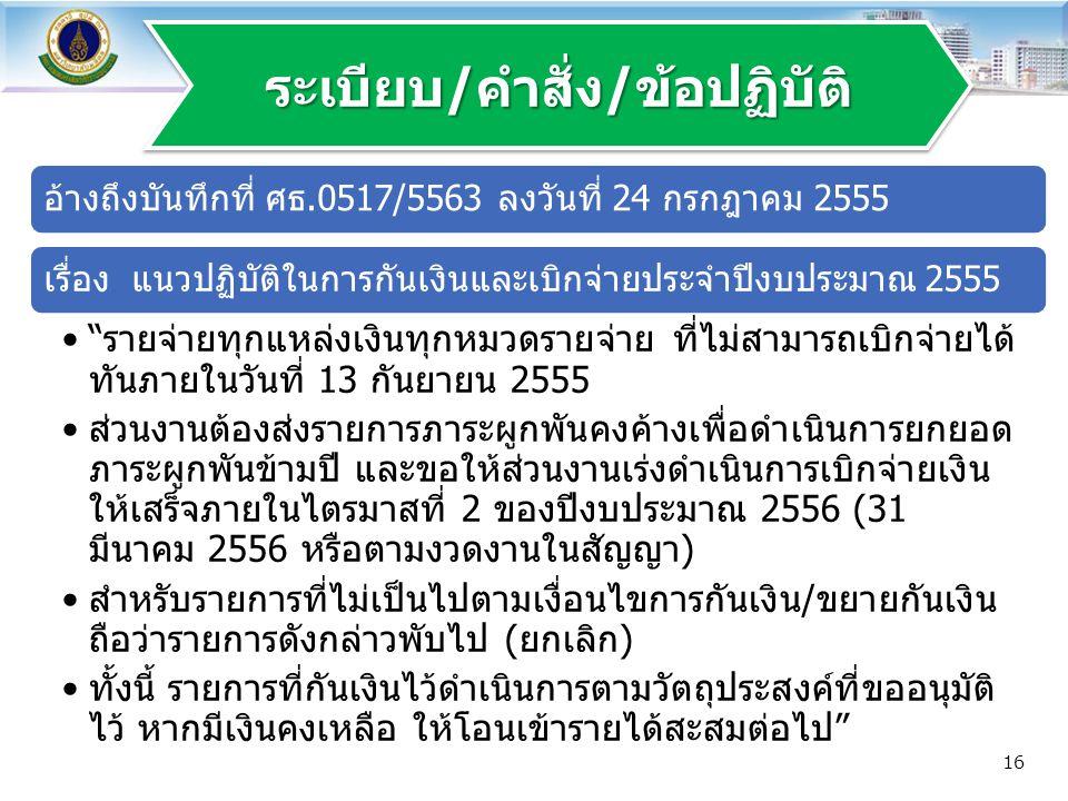 """อ้างถึงบันทึกที่ ศธ.0517/5563 ลงวันที่ 24 กรกฎาคม 2555เรื่อง แนวปฏิบัติในการกันเงินและเบิกจ่ายประจำปีงบประมาณ 2555 """"รายจ่ายทุกแหล่งเงินทุกหมวดรายจ่าย"""
