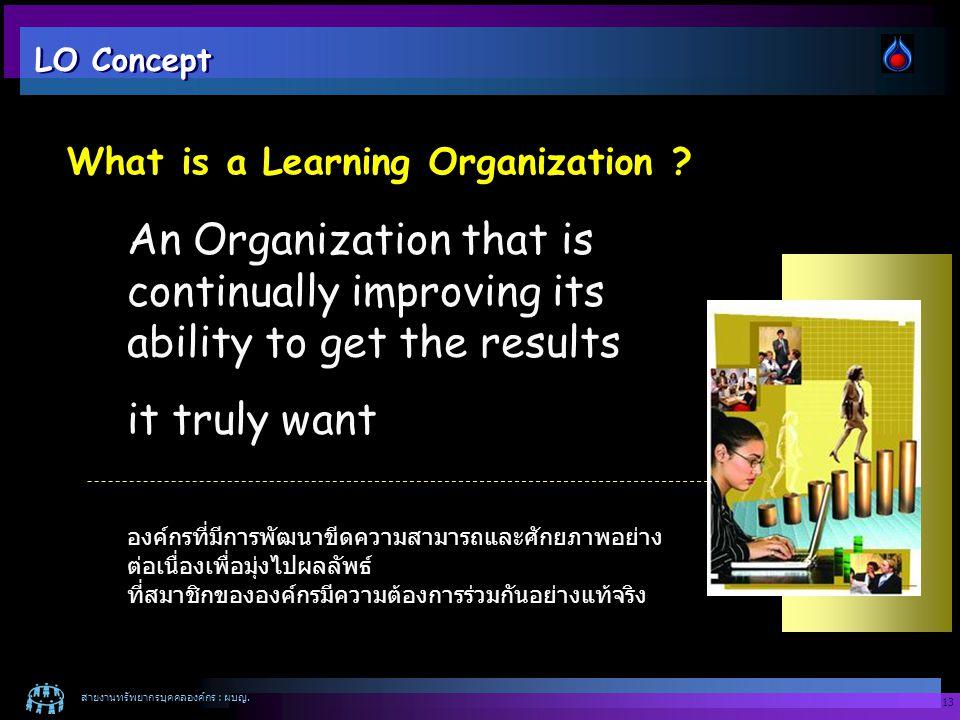 สายงานทรัพยากรบุคคลองค์กร : ผบญ. 13 An Organization that is continually improving its ability to get the results it truly want องค์กรที่มีการพัฒนาขีดค