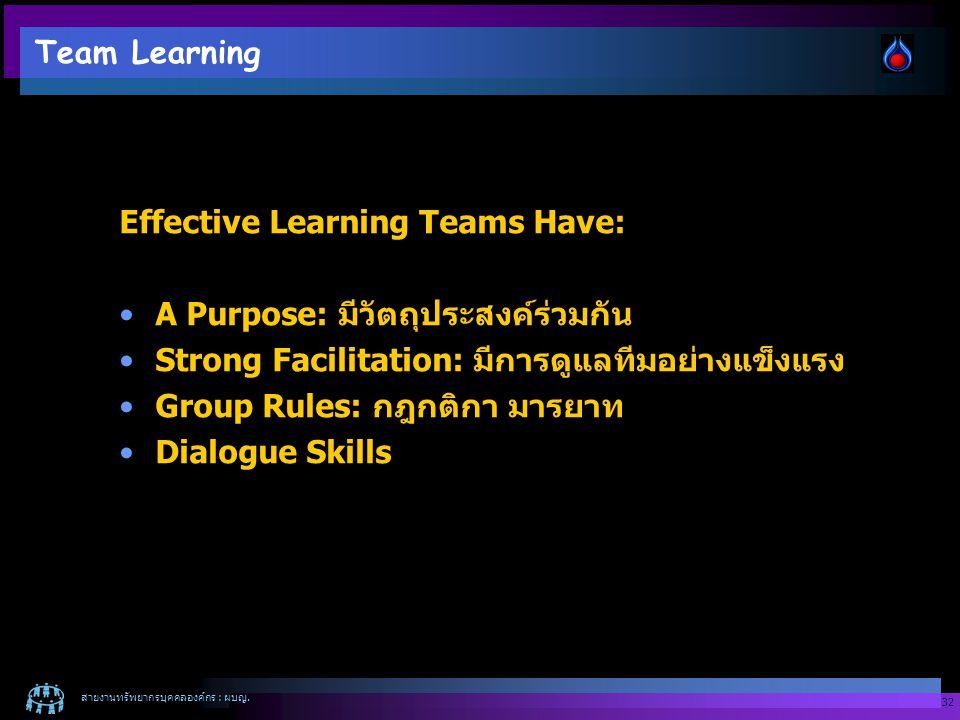 สายงานทรัพยากรบุคคลองค์กร : ผบญ. 32 Team Learning Effective Learning Teams Have: A Purpose: มีวัตถุประสงค์ร่วมกัน Strong Facilitation: มีการดูแลทีมอย่