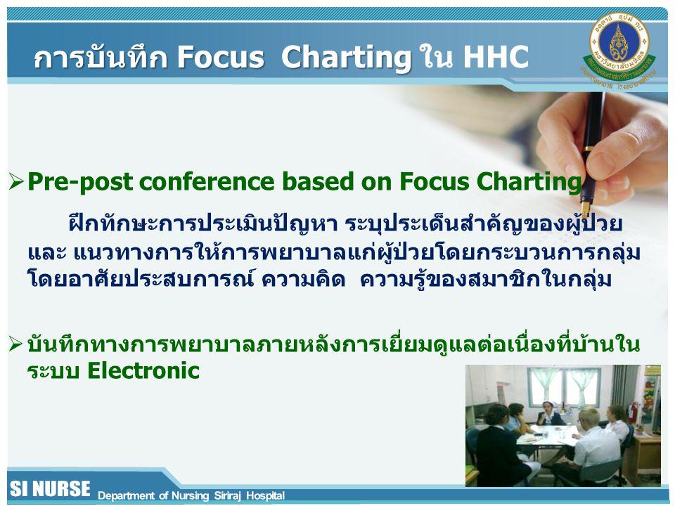 การบันทึก Focus Charting การบันทึก Focus Charting ใน HHC  Pre-post conference based on Focus Charting ฝึกทักษะการประเมินปัญหา ระบุประเด็นสำคัญของผู้ป