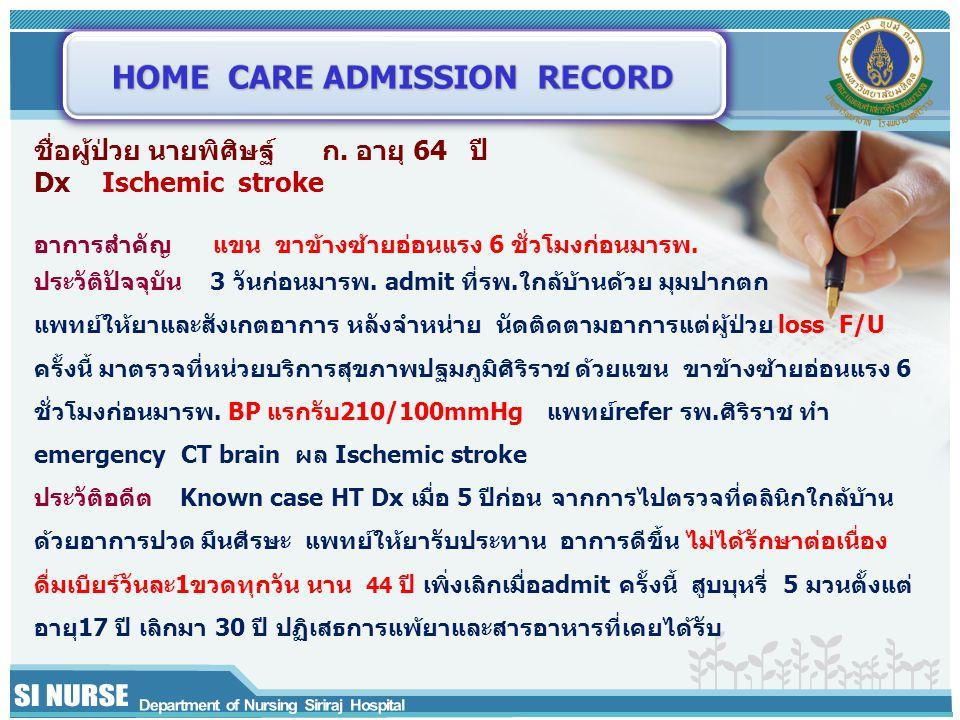 ชื่อผู้ป่วย นายพิศิษฐ์ ก. อายุ 64 ปี Dx Ischemic stroke อาการสำคัญ แขน ขาข้างซ้ายอ่อนแรง 6 ชั่วโมงก่อนมารพ. ประวัติปัจจุบัน 3 วันก่อนมารพ. admit ที่รพ