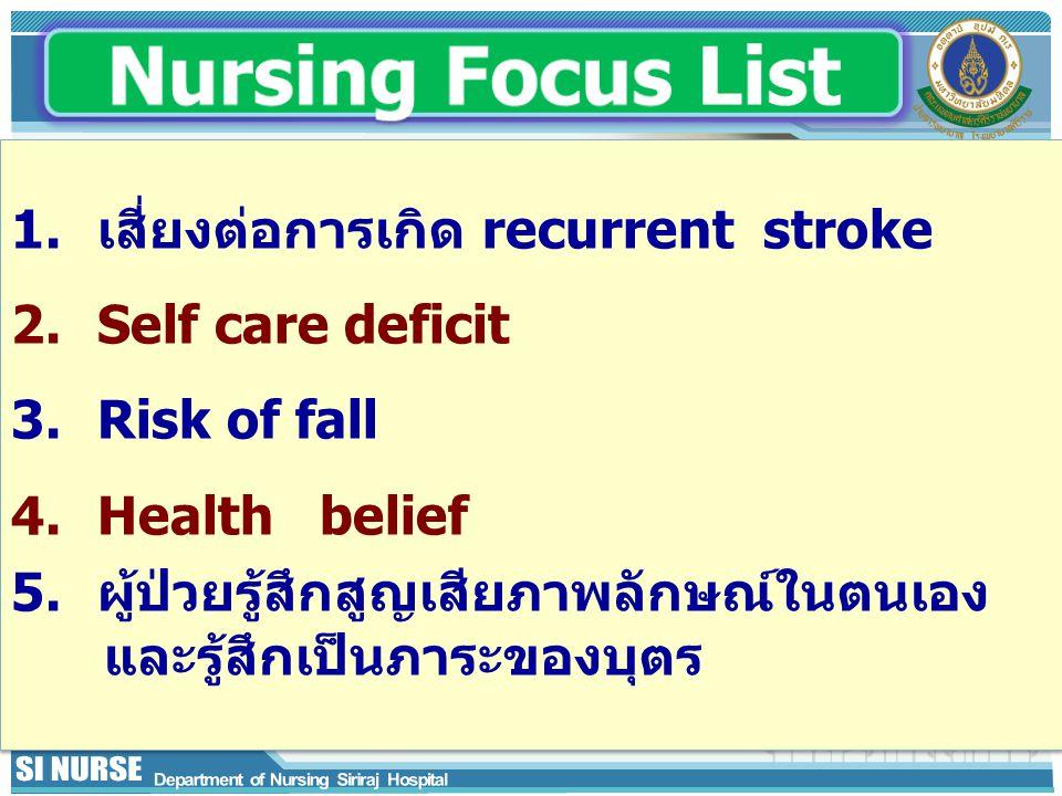 1.เสี่ยงต่อการเกิด recurrent stroke 2.Self care deficit 3.Risk of fall 4.Health belief 5.ผู้ป่วยรู้สึกสูญเสียภาพลักษณ์ในตนเอง และรู้สึกเป็นภาระของบุตร