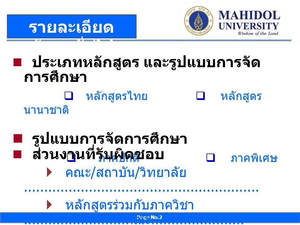 Page No.2 รายละเอียด ข้อมูลทั่วไป ( ต่อ ) ประเภทหลักสูตร และรูปแบบการจัด การศึกษา  หลักสูตรไทย  หลักสูตร นานาชาติ รูปแบบการจัดการศึกษา  ภาคปกติ  ภ