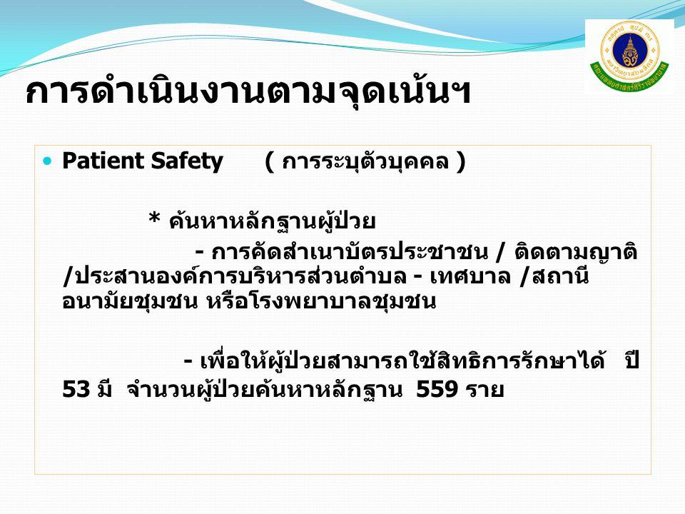 การดำเนินงานตามจุดเน้นฯ Patient Safety ( การระบุตัวบุคคล ) * ค้นหาหลักฐานผู้ป่วย - การคัดสำเนาบัตรประชาชน / ติดตามญาติ /ประสานองค์การบริหารส่วนตำบล - เทศบาล /สถานี อนามัยชุมชน หรือโรงพยาบาลชุมชน - เพื่อให้ผู้ป่วยสามารถใช้สิทธิการรักษาได้ ปี 53 มี จำนวนผู้ป่วยค้นหาหลักฐาน 559 ราย