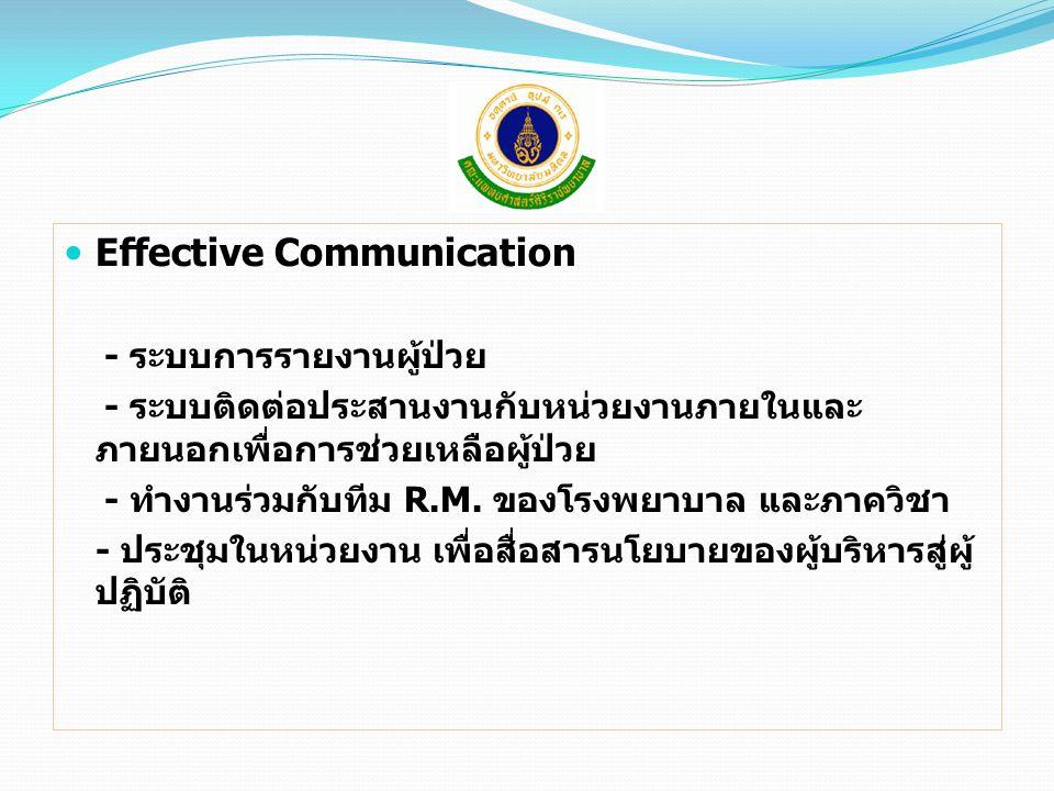 Effective Communication - ระบบการรายงานผู้ป่วย - ระบบติดต่อประสานงานกับหน่วยงานภายในและ ภายนอกเพื่อการช่วยเหลือผู้ป่วย - ทำงานร่วมกับทีม R.M. ของโรงพย