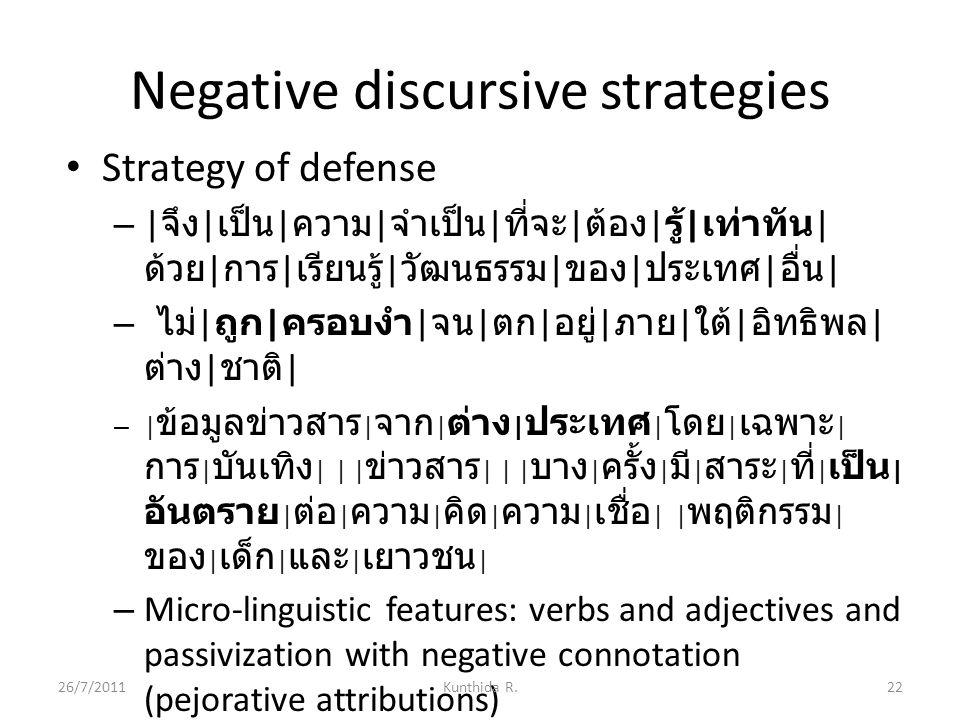 Negative discursive strategies Strategy of defense – | จึง | เป็น | ความ | จำเป็น | ที่จะ | ต้อง | รู้ | เท่าทัน | ด้วย | การ | เรียนรู้ | วัฒนธรรม | ของ | ประเทศ | อื่น | – ไม่ | ถูก | ครอบงำ | จน | ตก | อยู่ | ภาย | ใต้ | อิทธิพล | ต่าง | ชาติ | – | ข้อมูลข่าวสาร | จาก | ต่าง | ประเทศ | โดย | เฉพาะ | การ | บันเทิง | | | ข่าวสาร | | | บาง | ครั้ง | มี | สาระ | ที่ | เป็น | อันตราย | ต่อ | ความ | คิด | ความ | เชื่อ | | พฤติกรรม | ของ | เด็ก | และ | เยาวชน | – Micro-linguistic features: verbs and adjectives and passivization with negative connotation (pejorative attributions) 26/7/201122Kunthida R.