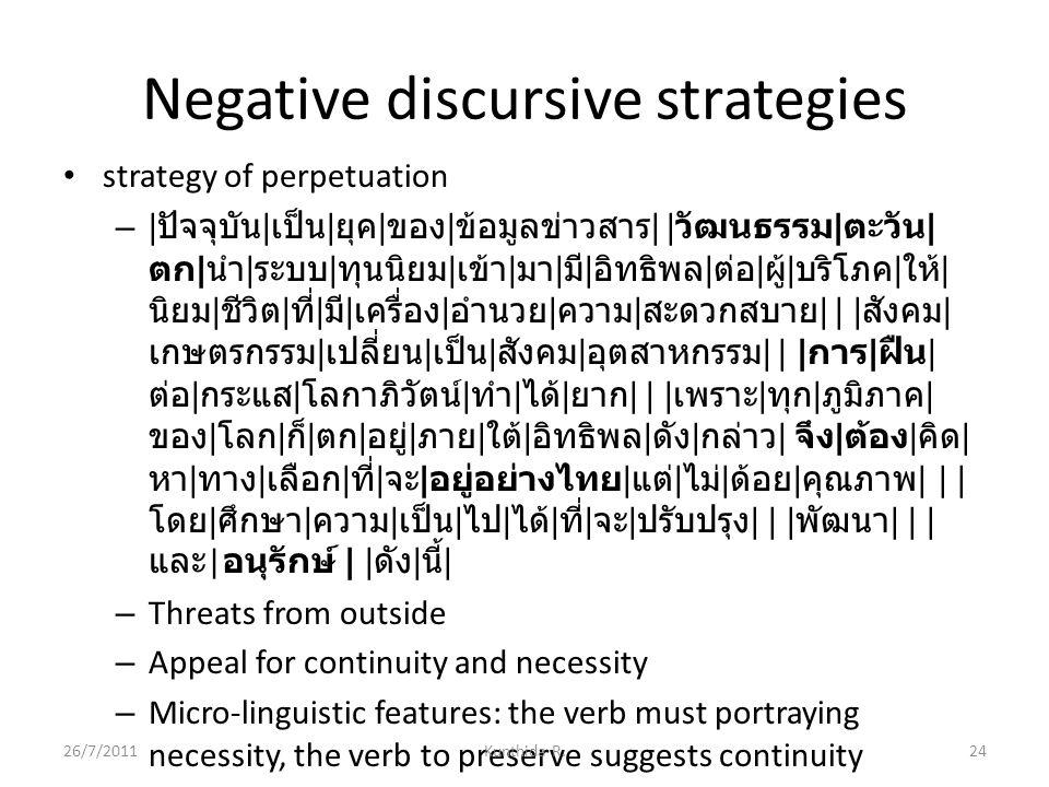 Negative discursive strategies strategy of perpetuation – | ปัจจุบัน | เป็น | ยุค | ของ | ข้อมูลข่าวสาร | | วัฒนธรรม | ตะวัน | ตก | นำ | ระบบ | ทุนนิยม | เข้า | มา | มี | อิทธิพล | ต่อ | ผู้ | บริโภค | ให้ | นิยม | ชีวิต | ที่ | มี | เครื่อง | อำนวย | ความ | สะดวกสบาย | | | สังคม | เกษตรกรรม | เปลี่ยน | เป็น | สังคม | อุตสาหกรรม | | | การ | ฝืน | ต่อ | กระแส | โลกาภิวัตน์ | ทำ | ได้ | ยาก | | | เพราะ | ทุก | ภูมิภาค | ของ | โลก | ก็ | ตก | อยู่ | ภาย | ใต้ | อิทธิพล | ดัง | กล่าว | จึง | ต้อง | คิด | หา | ทาง | เลือก | ที่ | จะ | อยู่อย่างไทย | แต่ | ไม่ | ด้อย | คุณภาพ | | | โดย | ศึกษา | ความ | เป็น | ไป | ได้ | ที่ | จะ | ปรับปรุง | | | พัฒนา | | | และ | อนุรักษ์ | | ดัง | นี้ | – Threats from outside – Appeal for continuity and necessity – Micro-linguistic features: the verb must portraying necessity, the verb to preserve suggests continuity 26/7/2011Kunthida R.24