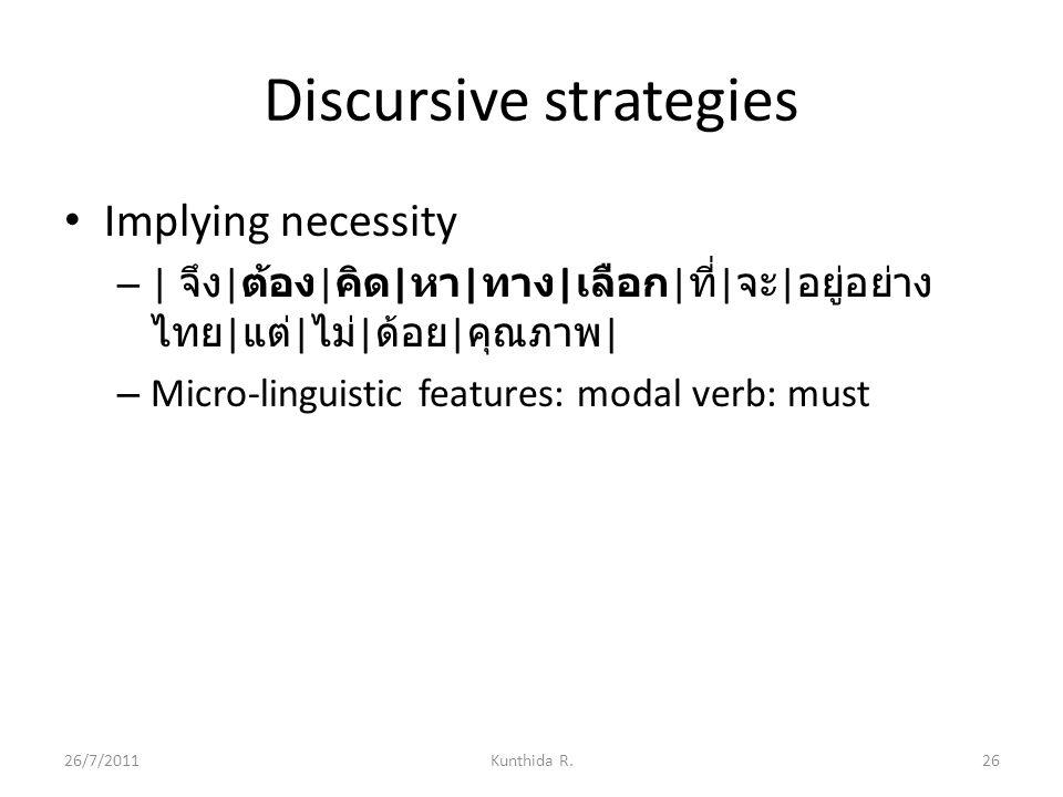 Discursive strategies Implying necessity – | จึง | ต้อง | คิด | หา | ทาง | เลือก | ที่ | จะ | อยู่อย่าง ไทย | แต่ | ไม่ | ด้อย | คุณภาพ | – Micro-linguistic features: modal verb: must 26/7/201126Kunthida R.
