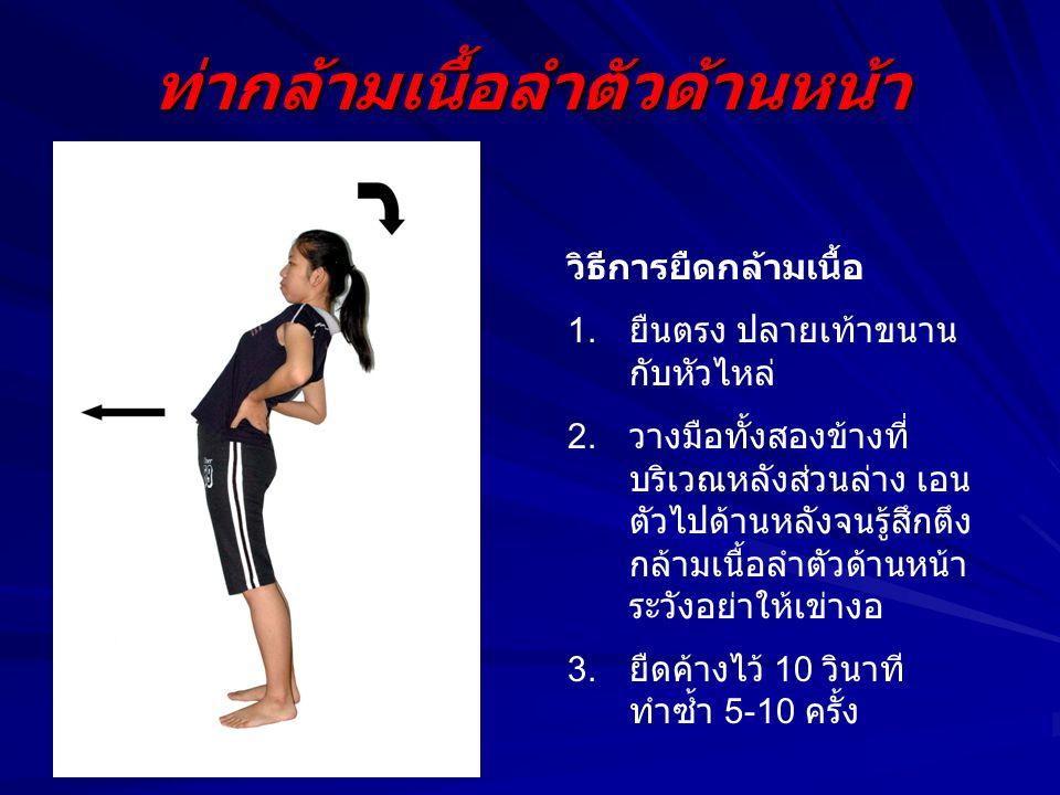 ท่ากล้ามเนื้อลำตัวด้านหน้า วิธีการยืดกล้ามเนื้อ 1. ยืนตรง ปลายเท้าขนาน กับหัวไหล่ 2. วางมือทั้งสองข้างที่ บริเวณหลังส่วนล่าง เอน ตัวไปด้านหลังจนรู้สึก