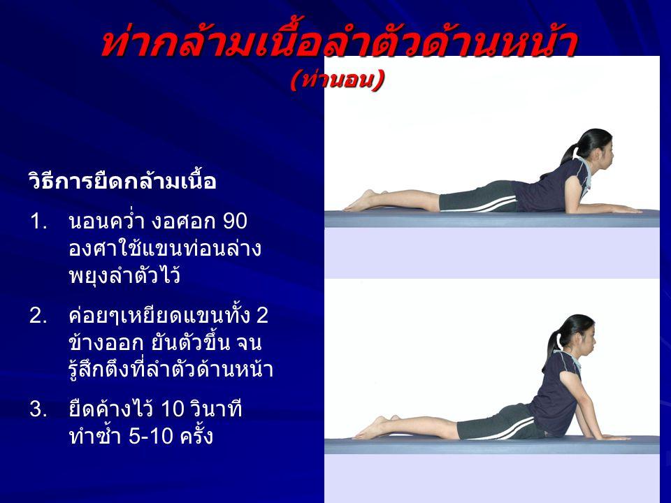 ท่ากล้ามเนื้อลำตัวด้านหน้า ( ท่านอน ) วิธีการยืดกล้ามเนื้อ 1. นอนคว่ำ งอศอก 90 องศาใช้แขนท่อนล่าง พยุงลำตัวไว้ 2. ค่อยๆเหยียดแขนทั้ง 2 ข้างออก ยันตัวข