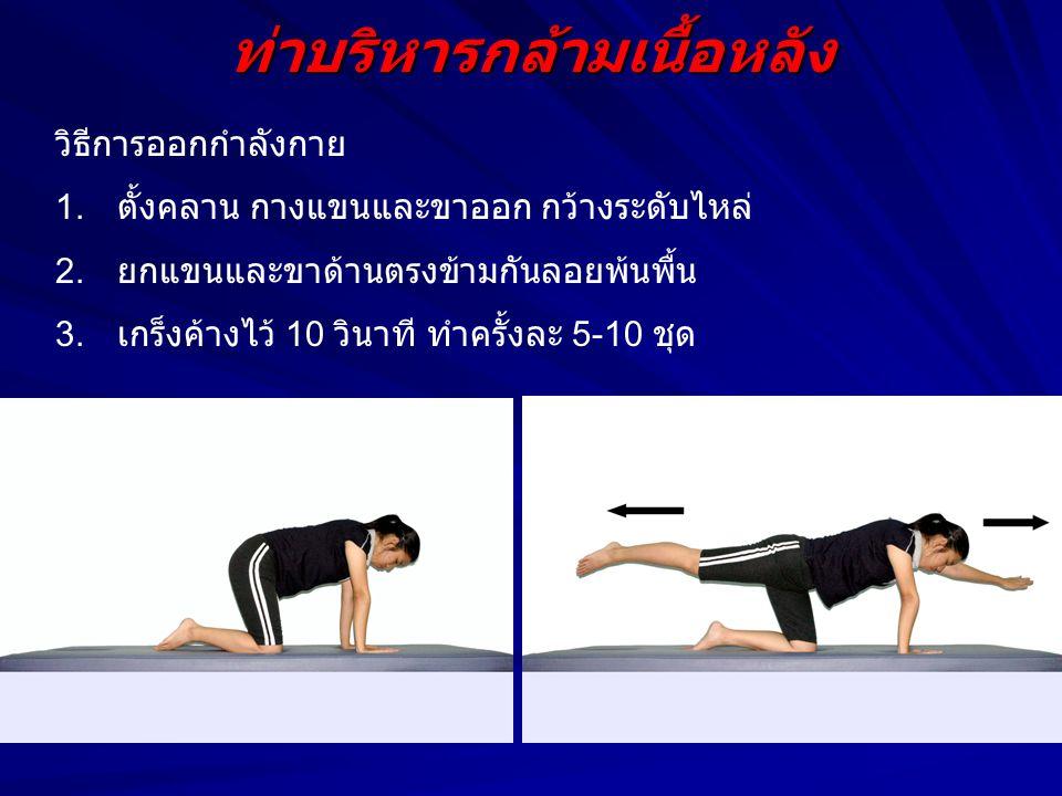 ท่าบริหารกล้ามเนื้อหลัง วิธีการออกกำลังกาย 1. ตั้งคลาน กางแขนและขาออก กว้างระดับไหล่ 2. ยกแขนและขาด้านตรงข้ามกันลอยพ้นพื้น 3. เกร็งค้างไว้ 10 วินาที ท