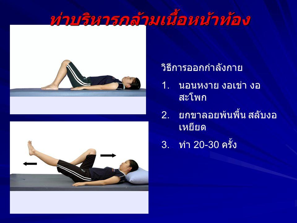 ท่าบริหารกล้ามเนื้อหน้าท้อง วิธีการออกกำลังกาย 1. นอนหงาย งอเข่า งอ สะโพก 2. ยกขาลอยพ้นพื้น สลับงอ เหยียด 3. ทำ 20-30 ครั้ง