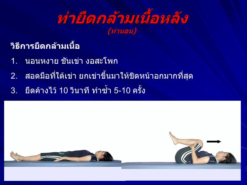 ท่าบริหารกล้ามเนื้อหน้าท้อง วิธีการออกกำลังกาย 1.นอนหงาย งอเข่า งอ สะโพก 2.