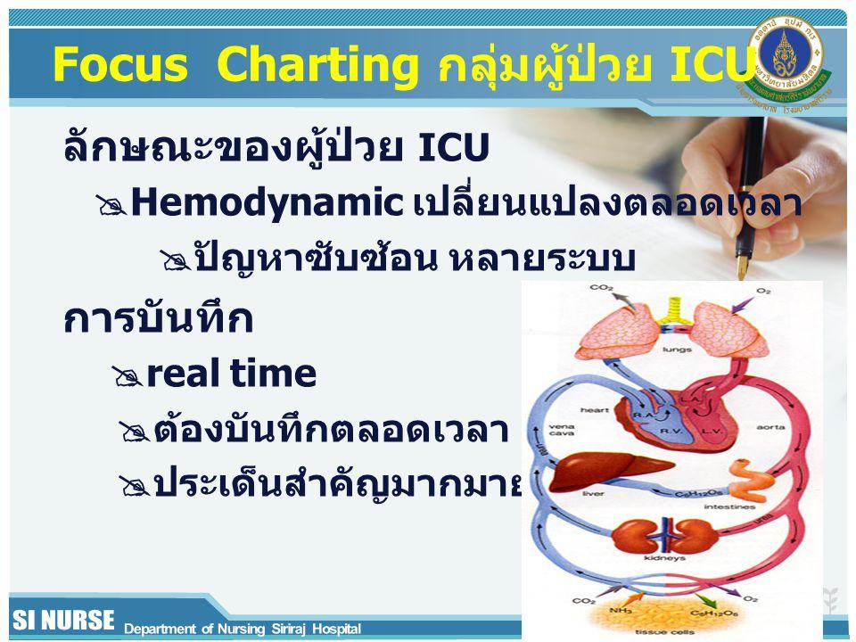 Focus Charting กลุ่มผู้ป่วย ICU ลักษณะของผู้ป่วย ICU  Hemodynamic เปลี่ยนแปลงตลอดเวลา  ปัญหาซับซ้อน หลายระบบ การบันทึก  real time  ต้องบันทึกตลอดเ