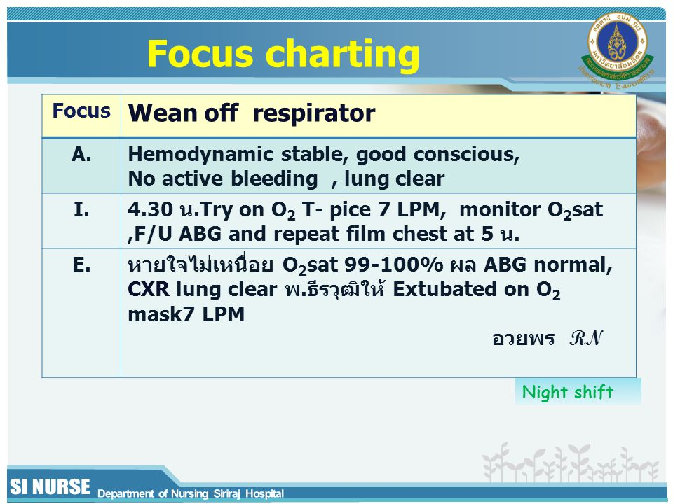 Focus Wean off respirator A.Hemodynamic stable, good conscious, No active bleeding, lung clear I.4.30 น.Try on O 2 T- pice 7 LPM, monitor O 2 sat,F/U ABG and repeat film chest at 5 น.