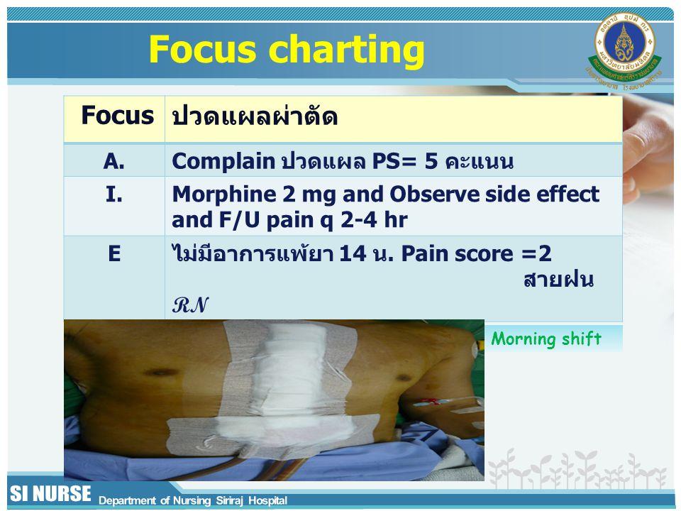 Focusปวดแผลผ่าตัด A.Complain ปวดแผล PS= 5 คะแนน I.Morphine 2 mg and Observe side effect and F/U pain q 2-4 hr Eไม่มีอาการแพ้ยา 14 น. Pain score =2 สาย