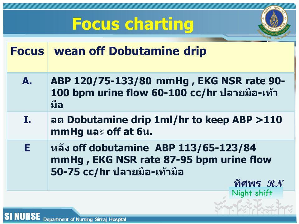 Focus wean off Dobutamine drip A.ABP 120/75-133/80 mmHg, EKG NSR rate 90- 100 bpm urine flow 60-100 cc/hr ปลายมือ-เท้า มือ I.ลด Dobutamine drip 1ml/hr to keep ABP >110 mmHg และ off at 6น.
