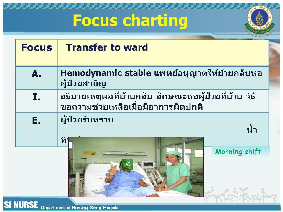 Focus Transfer to ward A. Hemodynamic stable แพทย์อนุญาตให้ย้ายกลับหอ ผู้ป่วยสามัญ I. อธิบายเหตุผลที่ย้ายกลับ ลักษณะหอผู้ป่วยที่ย้าย วิธี ขอความช่วยเห