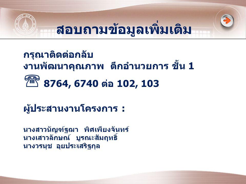 สอบถามข้อมูลเพิ่มเติม กรุณาติดต่อกลับ งานพัฒนาคุณภาพ ตึกอำนวยการ ชั้น 1  8764, 6740 ต่อ 102, 103 ผู้ประสานงานโครงการ : นางสาวนัญฑ์ฐฌา พิศเพียงจันทร์ นางเสาวลักษณ์ บูรณะสัมฤทธิ์ นางวรนุช อุยประเสริฐกุล