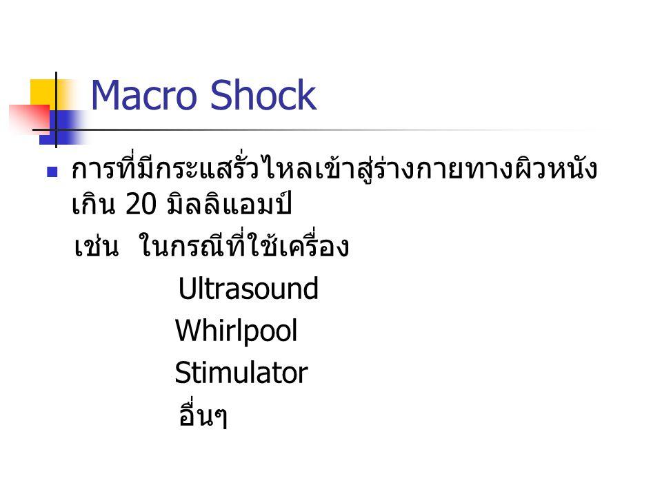 Macro Shock การที่มีกระแสรั่วไหลเข้าสู่ร่างกายทางผิวหนัง เกิน 20 มิลลิแอมป์ เช่น ในกรณีที่ใช้เครื่อง Ultrasound Whirlpool Stimulator อื่นๆ