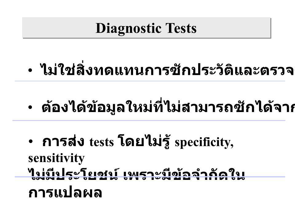 Diagnostic Tests ไม่ใช่สิ่งทดแทนการซักประวัติและตรวจร่างกาย ต้องได้ข้อมูลใหม่ที่ไม่สามารถซักได้จากประวัติและ PE การส่ง tests โดยไม่รู้ specificity, se