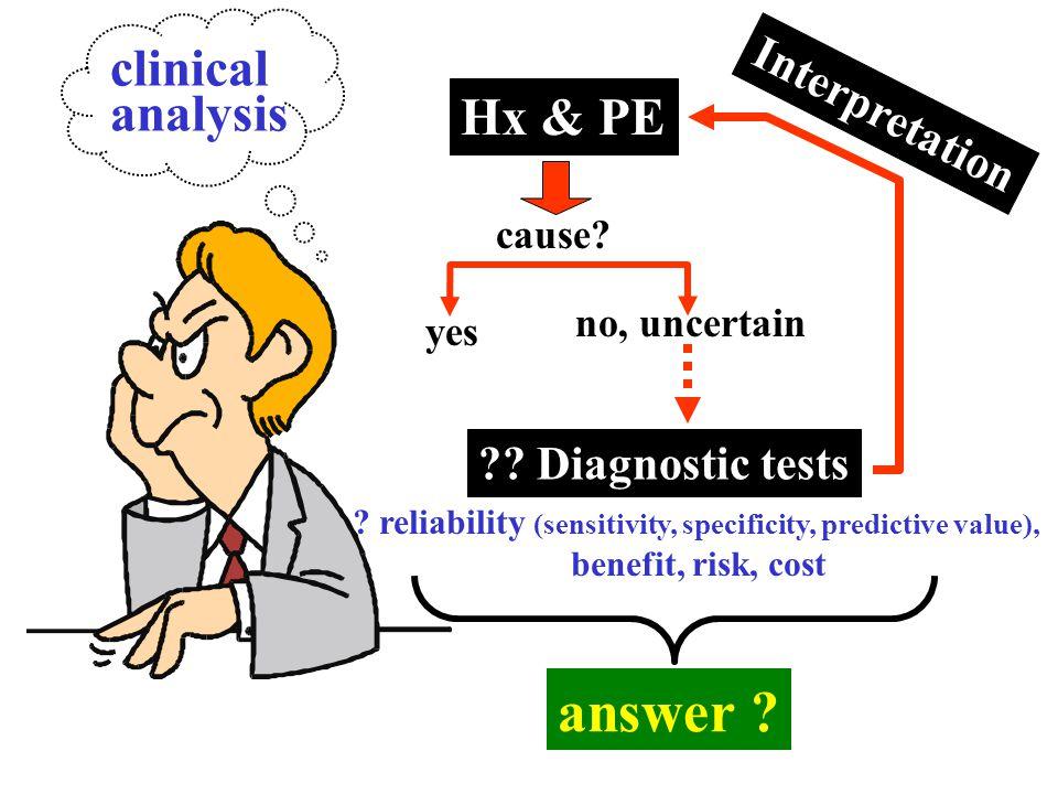 Hx & PE cause? yes no, uncertain Interpretation ? reliability (sensitivity, specificity, predictive value), benefit, risk, cost ?? Diagnostic tests an