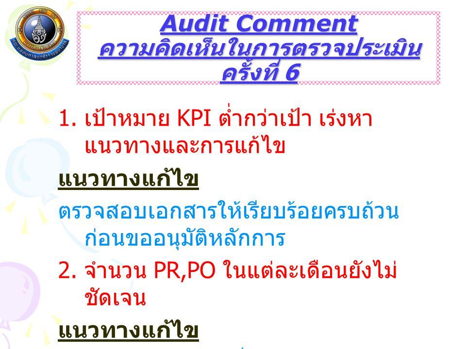 Audit Comment ความคิดเห็นในการตรวจประเมิน ครั้งที่ 6 1. เป้าหมาย KPI ต่ำกว่าเป้า เร่งหา แนวทางและการแก้ไข แนวทางแก้ไข ตรวจสอบเอกสารให้เรียบร้อยครบถ้วน