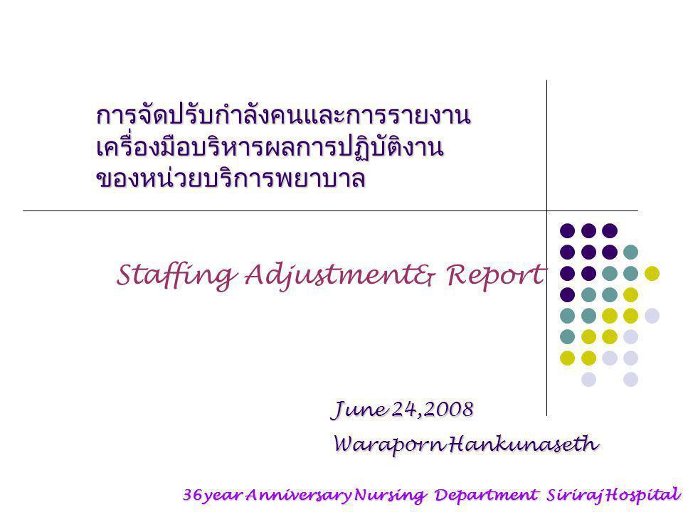 การจัดปรับกำลังคนและการรายงาน เครื่องมือบริหารผลการปฏิบัติงาน ของหน่วยบริการพยาบาล Staffing Adjustment& Report 36year Anniversary Nursing Department Siriraj Hospital June 24,2008 Waraporn Hankunaseth