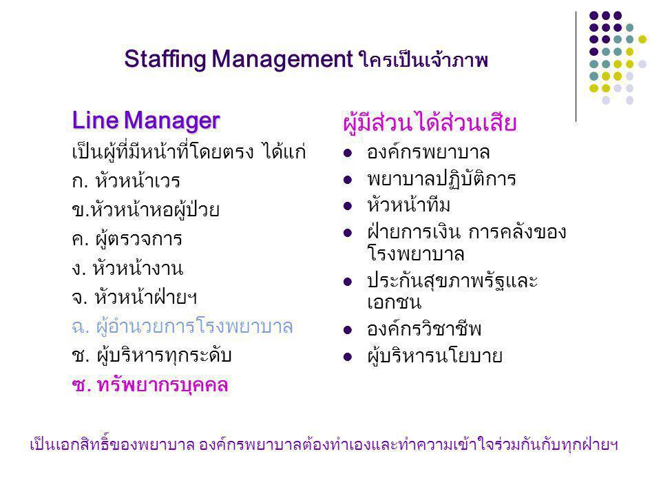 Staffing Management ใครเป็นเจ้าภาพ Line Manager เป็นผู้ที่มีหน้าที่โดยตรง ได้แก่ ก.