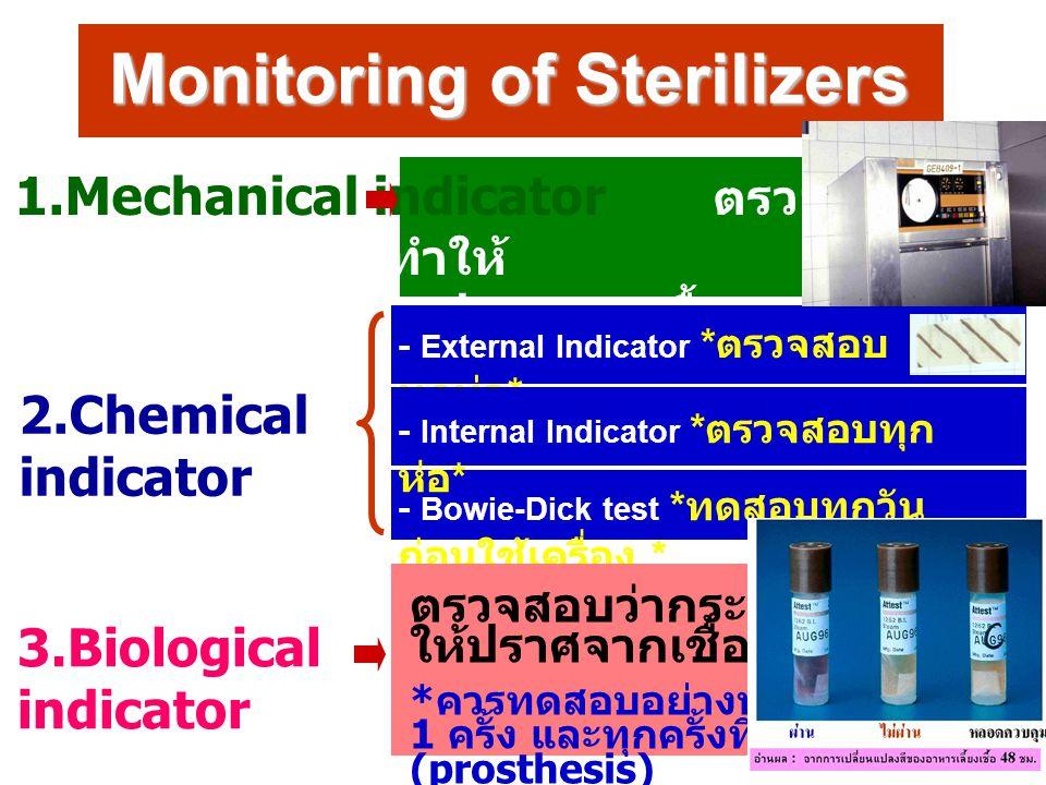 Monitoring of Sterilizers 3.Biological indicator 1.Mechanical indicator ตรวจสอบการ ทำงานของเครื่องทำให้ ปราศจากเชื้อ : มาตรวัด และสัญญาณไฟต่างๆ 2.Chem