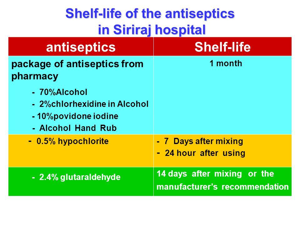 Shelf-life of the antiseptics in Siriraj hospital antisepticsShelf-life package of antiseptics from pharmacy - 70%Alcohol - 2%chlorhexidine in Alcohol
