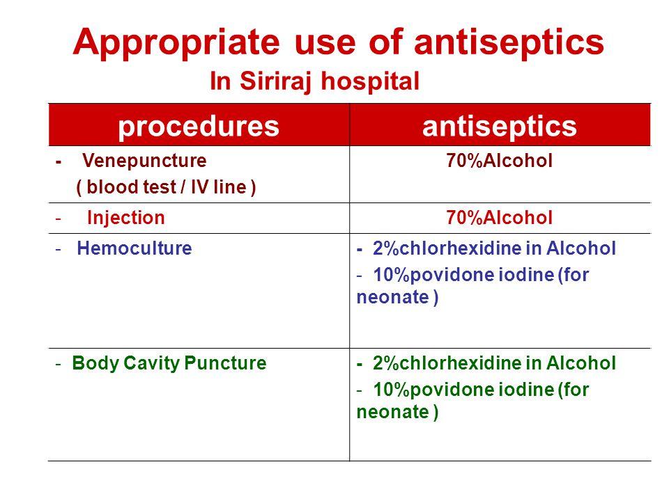 proceduresantiseptics - Venepuncture ( blood test / IV line ) 70%Alcohol - Injection70%Alcohol - Hemoculture- 2%chlorhexidine in Alcohol - 10%povidone
