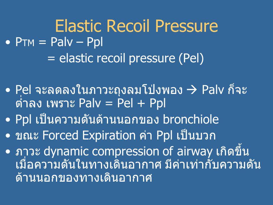 Elastic Recoil Pressure P TM = Palv – Ppl = elastic recoil pressure (Pel) Pel จะลดลงในภาวะถุงลมโป่งพอง  Palv ก็จะ ต่ำลง เพราะ Palv = Pel + Ppl Ppl เป็นความดันด้านนอกของ bronchiole ขณะ Forced Expiration ค่า Ppl เป็นบวก ภาวะ dynamic compression of airway เกิดขึ้น เมื่อความดันในทางเดินอากาศ มีค่าเท่ากับความดัน ด้านนอกของทางเดินอากาศ