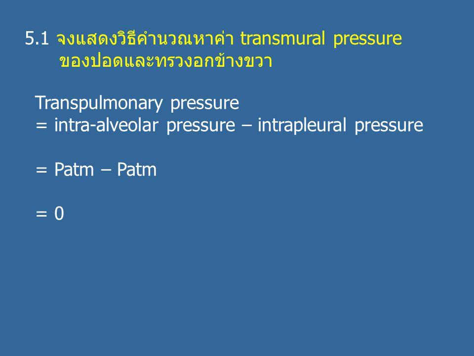 5.1 จงแสดงวิธีคำนวณหาค่า transmural pressure ของปอดและทรวงอกข้างขวา Transpulmonary pressure = intra-alveolar pressure – intrapleural pressure = Patm – Patm = 0