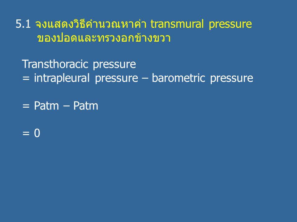 5.1 จงแสดงวิธีคำนวณหาค่า transmural pressure ของปอดและทรวงอกข้างขวา Transthoracic pressure = intrapleural pressure – barometric pressure = Patm – Patm = 0