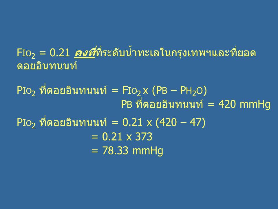 F I O 2 = 0.21 คงที่ที่ระดับน้ำทะเลในกรุงเทพฯและที่ยอด ดอยอินทนนท์ P I O 2 ที่ดอยอินทนนท์ = F I O 2 x (P B – P H 2 O ) P B ที่ดอยอินทนนท์ = 420 mmHg P I O 2 ที่ดอยอินทนนท์ = 0.21 x (420 – 47) = 0.21 x 373 = 78.33 mmHg