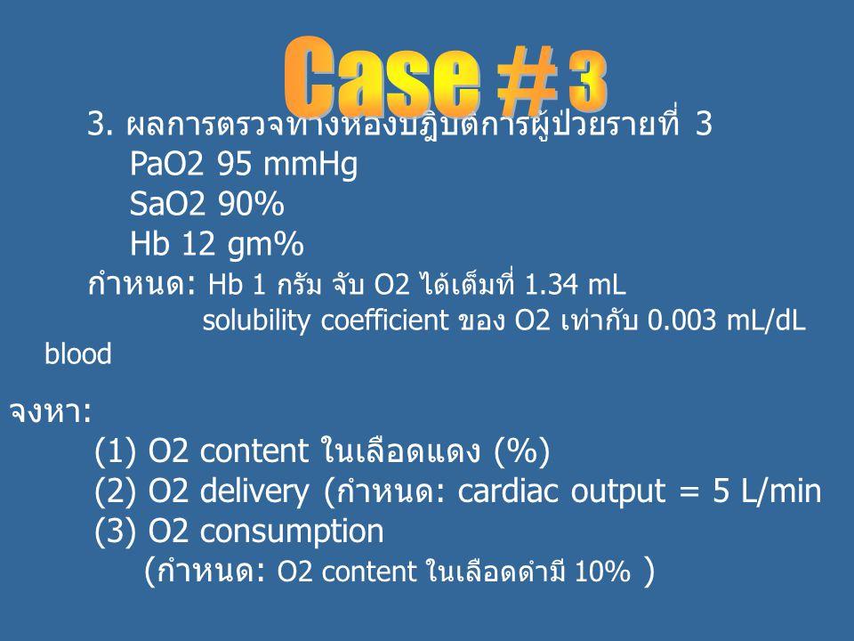3. ผลการตรวจทางห้องปฎิบัติการผู้ป่วยรายที่ 3 PaO2 95 mmHg SaO2 90% Hb 12 gm% กำหนด: Hb 1 กรัม จับ O2 ได้เต็มที่ 1.34 mL solubility coefficient ของ O2