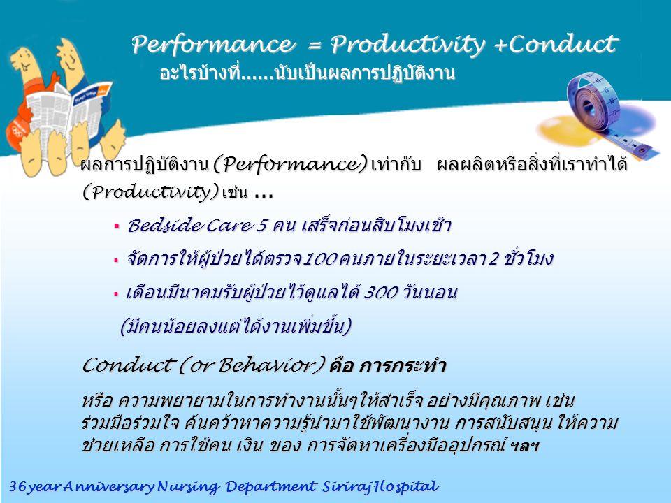 Performance = Productivity +Conduct อะไรบ้างที่......นับเป็นผลการปฏิบัติงาน อะไรบ้างที่......นับเป็นผลการปฏิบัติงาน ผลการปฏิบัติงาน (Performance) เท่ากับ ผลผลิตหรือสิ่งที่เราทำได้ (Productivity) เช่น...