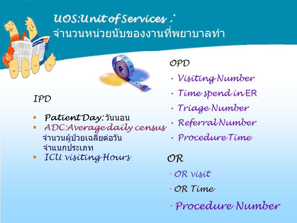 UOS:Unit of Services UOS:Unit of Services : จำนวนหน่วยนับของงานที่พยาบาลทำ IPD วันนอน  Patient Day: วันนอน  ADC:Average daily census จำนวนผู้ป่วยเฉล