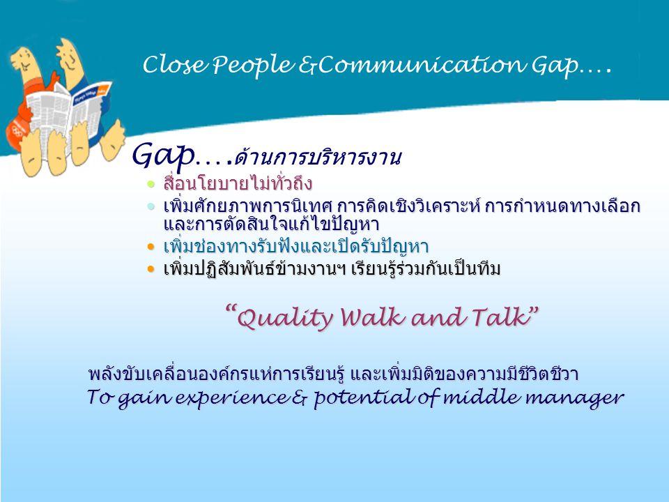 Close People &Communication Gap …. Gap…. ด้านการบริหารงาน สื่อนโยบายไม่ทั่วถึงสื่อนโยบายไม่ทั่วถึง เพิ่มศักยภาพการนิเทศ การคิดเชิงวิเคราะห์ การกำหนดทา