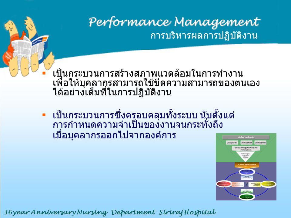 Performance Management Performance Management การบริหารผลการปฏิบัติงาน  เป็นกระบวนการสร้างสภาพแวดล้อมในการทำงาน เพื่อให้บุคลากรสามารถใช้ขีดความสามารถ