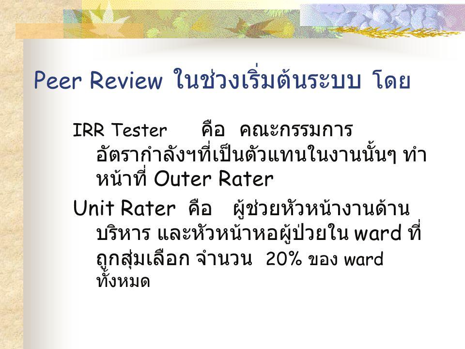 Peer Review ในช่วงเริ่มต้นระบบ โดย IRR Tester คือ คณะกรรมการ อัตรากำลังฯที่เป็นตัวแทนในงานนั้นๆ ทำ หน้าที่ Outer Rater Unit Rater คือ ผู้ช่วยหัวหน้างานด้าน บริหาร และหัวหน้าหอผู้ป่วยใน ward ที่ ถูกสุ่มเลือก จำนวน 20% ของ ward ทั้งหมด
