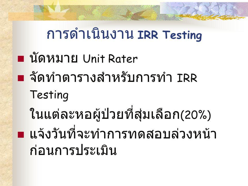 การดำเนินงาน IRR Testing นัดหมาย Unit Rater จัดทำตารางสำหรับการทำ IRR Testing ในแต่ละหอผู้ป่วยที่สุ่มเลือก (20%) แจ้งวันที่จะทำการทดสอบล่วงหน้า ก่อนการประเมิน