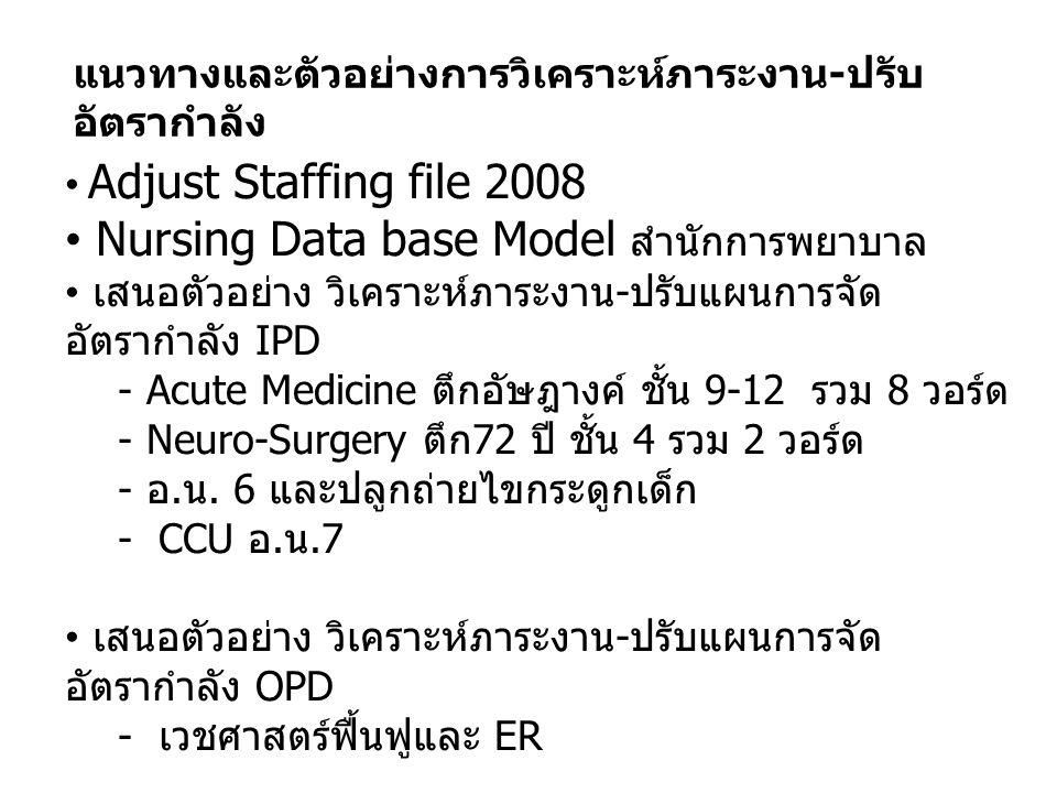 แนวทางและตัวอย่างการวิเคราะห์ภาระงาน - ปรับ อัตรากำลัง Adjust Staffing file 2008 Nursing Data base Model สำนักการพยาบาล เสนอตัวอย่าง วิเคราะห์ภาระงาน
