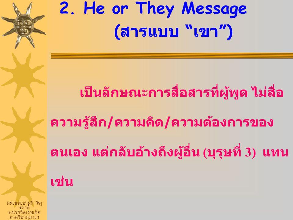 """ผศ. นพ. ชาตรี วิฑู รชาติ หน่วยจิตเวชเด็ก ภาควิชากุมารฯ ศิริราชพยายบาล 2. He or They Message ( สารแบบ """" เขา """") เป็นลักษณะการสื่อสารที่ผู้พูด ไม่สื่อ คว"""